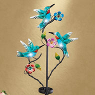 Solar Blue Glass Hummingbirds Garden Stake