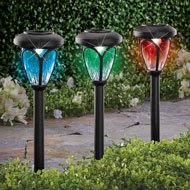 Solar Color-Changing Pathway Stake - Set of 3 - 47335