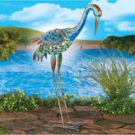 Solar Crane in Blue Rustic Yard Figurine - 47337