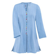 Textured Zip Front Tunic with Colorful Buttons - 47361