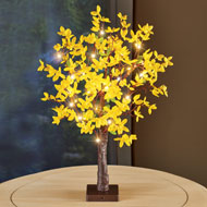 Lighted Yellow Forsythia Tabletop Tree - 47369
