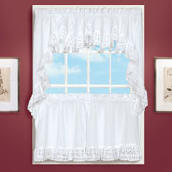 Vienna Eyelet Window Curtains with Ruffled Border - 47372