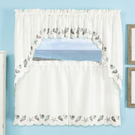 Seashell Embroidered Border Window Curtains - 47374