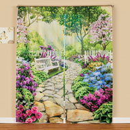Garden with Stone Path Scene Window Curtain Drapes - 47376