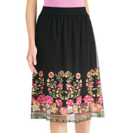 Embroidered Floral Border Pull-On Skirt