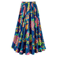 Colorful Bold Paisley Print Sweeping Skirt - 47382