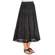 Tiered Skirt with Crochet Hemline and Elastic Waist - 47383