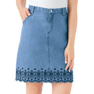 Embroidered Floral Border Scalloped Denim Skirt