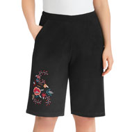 Embroidered Floral Design Pull-On Shorts - 47385