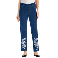 Floral Embroidered Ankle Jeans with Faux Pockets - 47387