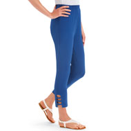 Lattice Detail Capri Leggings with Elastic Waist - 47390
