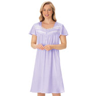 Pin Dot Lace and Ribbon Trim Nightgown - 47391
