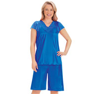 Silky Lace Trim Tricot Shorts Pajama Set - 47394