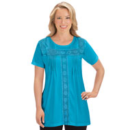 Crochet and Pleat Trim Short Sleeve Tunic - 47397