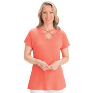 Multi Crisscross Lattice Neckline Short Sleeve Top - 47398