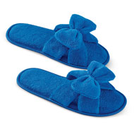Plush Terry Slippers Big Bow Accent - 47403