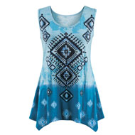 Sleeveless Diamond Aztec Sequined Sharkbite Top - 47406