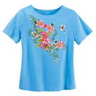 Blue Hummingbird Floral Short Sleeve Scoop Neck Top - 47409