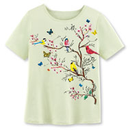 Songbirds on Branches Sparkling Sequined T-Shirt - 47410
