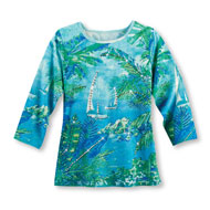 Tropical Sailboat Scene Sequined Top - 47411