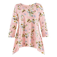 Floral Ladybug 3/4 Sleeves Tunic Top - 47415