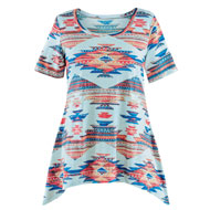 Southwest Aztec Print Sharkbite Top - 47416