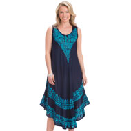 Embroidered Design Easy-Fit Tank Dress - 47425