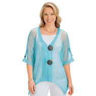 Big Button Crochet Knit Lightweight Jacket - 47430