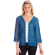 All-Over Crochet Open Front Jacket with 3/4 Sleeves - 47431