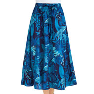 Tropical Bold Leaf Print Full Skirt - 47432