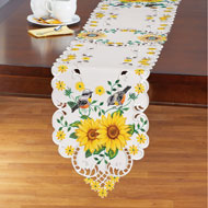 Lovely Yellow Sunflowers and Songbirds Table Linens - 47444