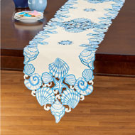 Blue Seashell Embroidered Table Linens - 47450