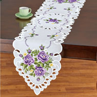 Charming Purple Roses Embroidered Table Linens - 47451
