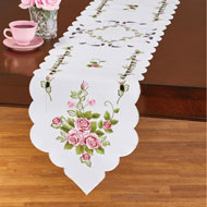 Rose Blossoms Scalloped Table Linens - 47454