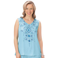 Aztec Design Printed Sleeveless Top - 47478