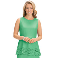 Laser Cut Detail Peplum Sleeveless Top