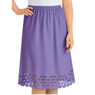 Laser Cut Detail Trimmed Skirt - 47487