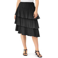 Asymmetric Tiered Gauze Skirt with Elastic Waist - 47488