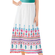 Colorful Pattern Border Embroidered Skirt - 47489