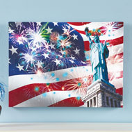 Lady Liberty with Flag Lighted Canvas Wall Art - 47497