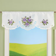 Charming Purple Roses Embroidered Window Valance - 47508