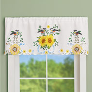 Lovely Sunflowers and Songbirds Window Valance