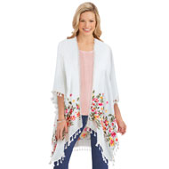 Floral Embroidered Open-Front Fringe Border Kimono - 47572