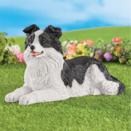 Realistic Hand-Painted Border Collie Garden Statue