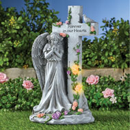 Angel with Light-Up Roses Stone-Like Memorial - 47617