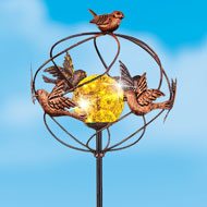 Solar-Powered Copper Bird Spinner Garden Stake - 47622