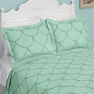 Seashell Embroidered Textured Pillow Sham - 47640