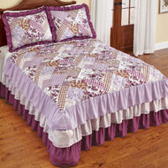 Evelyn Patchwork Style Quilted Ruffled Bedspread - 47641