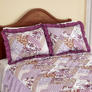 Evelyn Patchwork Style Ruffled Matching Pillow Sham - 47642