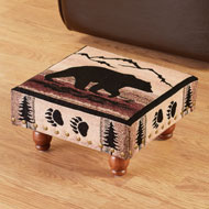 Black Bear Tapestry Footstool - 47695